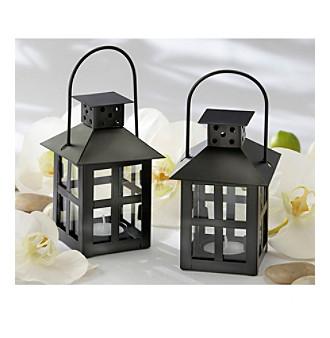 Kate Aspen Set of 12 Luminous Black Mini-Lantern Tea Light Holder