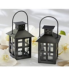Kate Aspen Set of 12 Luminous Black Mini-Lantern Tea Light Holder