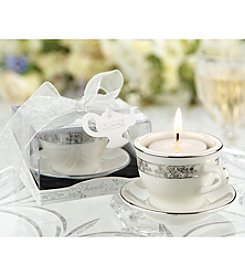 Kate Aspen Set of 12 Teacups and Tealights Miniature Porcelain Tealight Holders