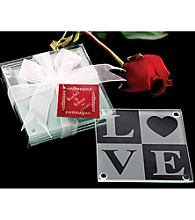 Kate Aspen LOVE Glass Coaster Gift Set with Ribbon and Thank You Tag - Set of 12