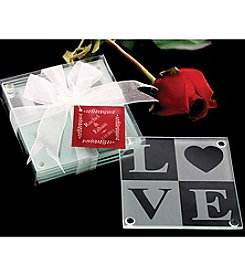 Kate Aspen Set of 12 LOVE Glass Coaster Gift Set with Ribbon and Thank You Tag