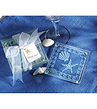 Kate Aspen Shell and Starfish Frosted Glass Coasters - Set of 12