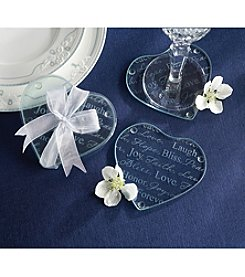 Kate Aspen Set of 12 Good Wishes Heart Glass Coasters