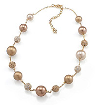 Carolee® Simulated Pearl and Fireball Goldtone Illusion Necklace