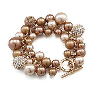 Carolee® Simulated Pearl and Fireball Goldtone Flex Bracelet