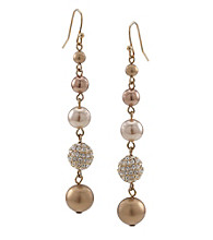 Carolee® Goldtone Simulated Pearl and Fireball Linear Drop Earrings