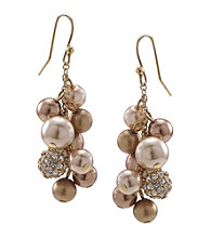 Carolee® Goldtone Simulated Pearl and Fireball Cluster Drop Earrings