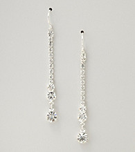 BT-Jeweled Silvertone and Crystal Linear Drop Earring