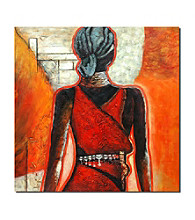 Woman Wearing Red I - Hand Painted Canvas-Wrapped Art