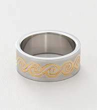 Men's Stainless Steel Two Tone Celtic Wave Ring