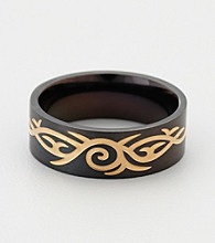Black and Gold Stainless Steel Tribal Ring