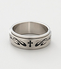 Men's Stainless Steel Tribal Cross Design Ring