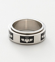 Men's Stainless Steel Claddagh Spinner Band