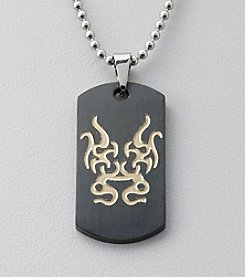 Black and Gold Stainless Steel Tribal Dog Tag Pendant