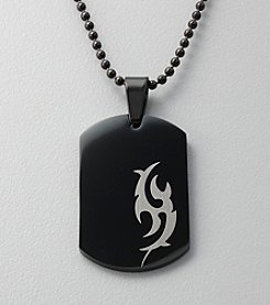 Black Stainless Steel Tribal Dog Tag Pendant