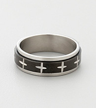 Men's Blackened Stainless Steel Cross Spinner Band