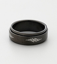 Men's Black Stainless Steel Tribal Spinner Band