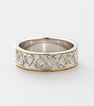 Sterling Silver Two-Tone Celtic Heart Wedding Band
