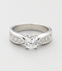 Sterling Silver Brilliant Cubic Zirconia Promise Ring