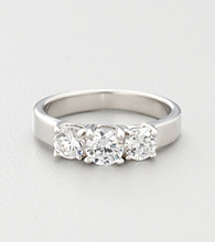 Sterling Silver Cubic Zirconia Trio Promise or Engagement Ring