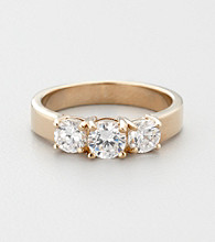 14K Gold-Plated Cubic Zirconia Trio Promise or Engagement Ring