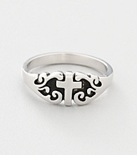 Rhodium-Plated Sterling Silver Purity Cross Ring