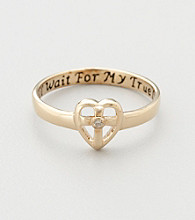 18K Gold-Over-Sterling Silver with Diamond Accent Purity Cross Ring