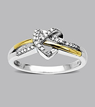 Sterling Silver and 14K Gold .10 ct. t.w. Diamond Heart Ring