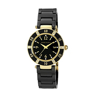 Anne Klein® Black Ceramic Bracelet Watch