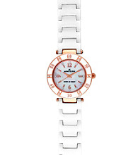 Anne Klein® White and Rose Goldtone Ceramic Bracelet Watch