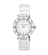Anne Klein® White and Silvertone Ceramic Bracelet Watch