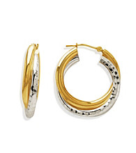 Sterling Silver Diamond-Cut and Polished 14K Gold Twisted Hoop Earring