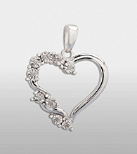 Sterling Silver and .04 ct. t.w. Diamond Heart Pendant