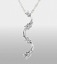 Sterling Silver .02 ct. t.w. Diamond Curved Pendant