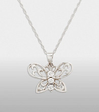 Sterling Silver .015 ct. t.w. Diamond Butterfly Pendant