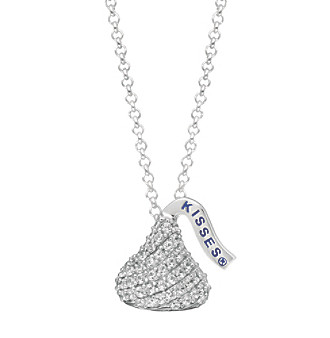 Sterling Silver with Cubic Zirconia Small Flat Back Hershey's Kiss Pendant