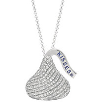 Sterling Silver with Cubic Zirconia Large Flat Back Hershey's Kiss Pendant