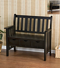 Holly & Martin™ Pecos 3-Drawer Country Bench - Black