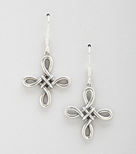 Oxidized Sterling Silver Knot Cross Earrings