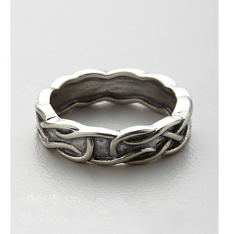 Oxidized Sterling Silver Deep Etched Knot Ring