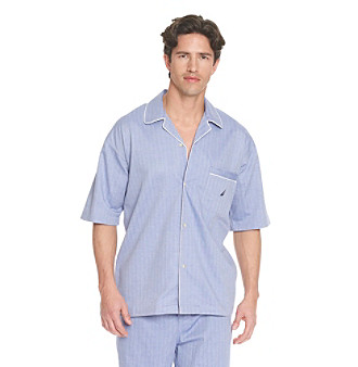 Nautica® Men's Herringbone Sleepwear Shirt - Blue Bonnet