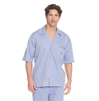 Nautica® Men's Herringbone Sleepwear Shirt - Blue Bonnet