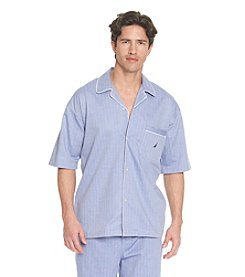 Nautica® Men's Blue Bonnet Herringbone Sleepwear Shirt
