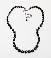 BT-Jeweled Graduated Faceted Black Bead Necklace