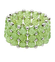 Peridot and Silver Bead Stretch Ring