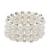 White Freshwater Pearl and Silver Bead Stretch Ring
