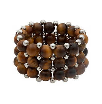 Tiger Eye and Silver Bead Stretch Ring