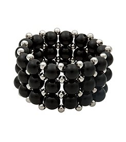 Black Onyx and Silver Bead Stretch Ring