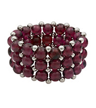 Garnet and Silver Bead Stretch Ring