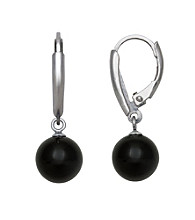 Sterling Silver and Black Onyx Lever-Back Earrings